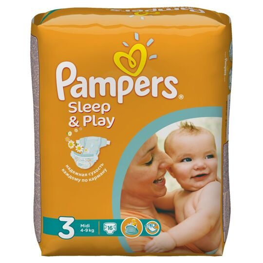 Подгузники Pampers Sleep&Play Миди 4-9 кг 16 шт