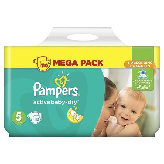 Подгузники Pampers Active Baby-Dry Mega Pack 11-16 кг. 110 шт.