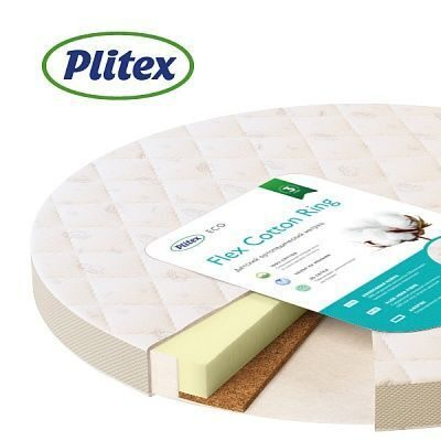 Матрас в круглую кроватку Plitex  Flex Cotton Ring  74х74х9 см