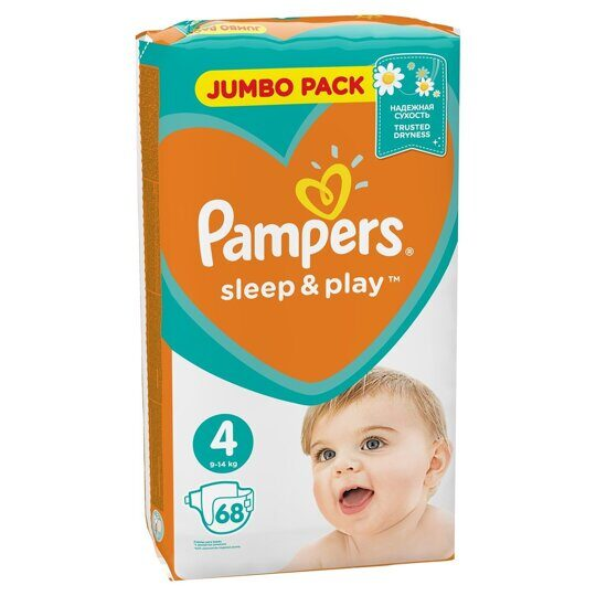 Подгузники Pampers Sleep&Play Макси 7-14 кг 68 шт